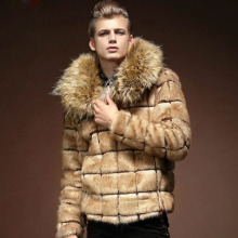 Free shipping new 2015 men wear winter fur coat fur neck winter jacket men plus size fashion men jacket fanzhuan