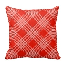 Pillows Cover Red And White Tartan Checkered Pattern Pillow Case (Size: 20″ by 20″) Free Shipping