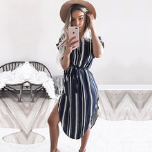 Women Dress Summer 2018 Elegant Striped Print Vintage Midi Party Dress Fashion Beach Chiffon Dress Sundress Vestidos Plus Size(China)