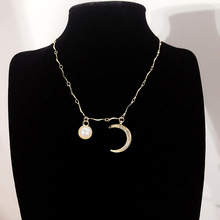 Exquisite Rhinestone Crescent Pearl Necklace Clavicle Choker Gold Chain Necklaces For Women Jewelry Accessories Gifts stylish turquoise crescent necklace for women