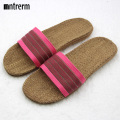 2017 New Summer SlideHome Flax Slippers Women Sandals Thicken Canvas Cross Knot Indoors Slippers Beach Sandals Couple On Vacatio
