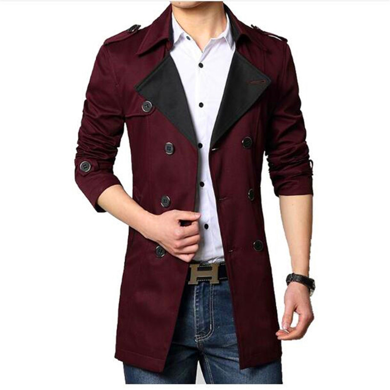 Free Shipping 2017 New Style Spring Autumn Men's Clothing Men Trench Coat Long Clolors Men Slim Fit Male Overcoat