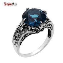 Szjinao 925 sterling silver Antique ring Border flowers female wedding rings Kate princess blue sapphire Ring Wholesale