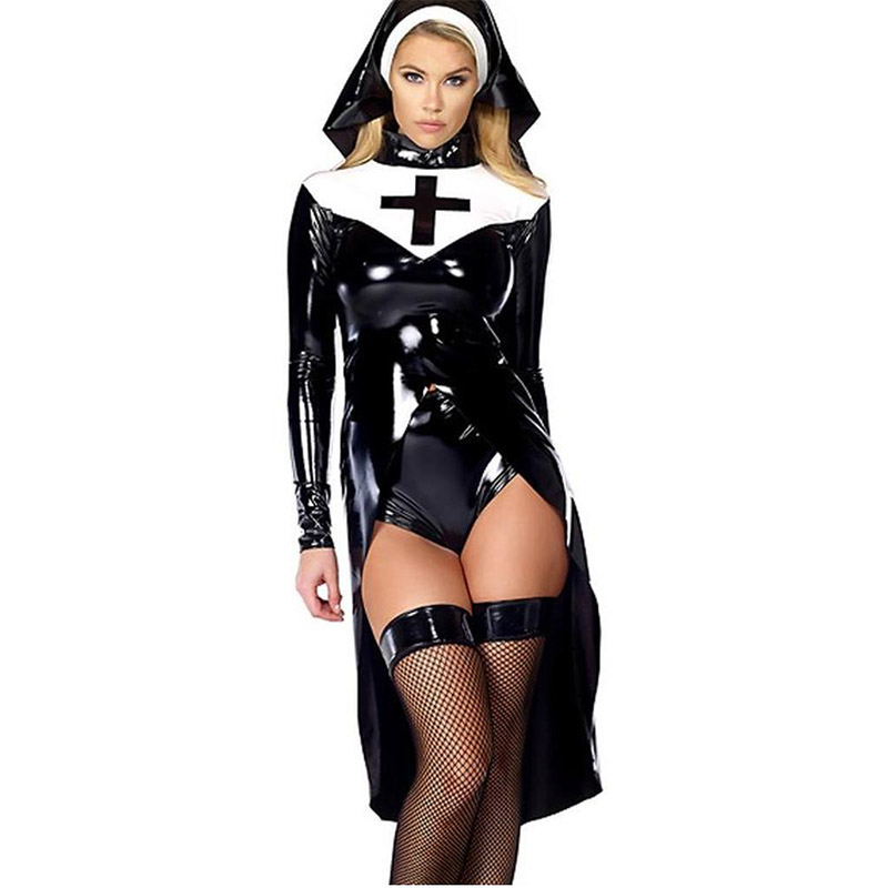 2018 New Arrival Halloween Cosplay Nun Role-Playing Fashion Top Panties And Hat Vinyl Black Women Sexy Costume
