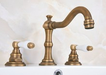 Antique Brass Dual White Ceramic Levers Handles Widespread 3 Hole Install Bathroom Sink Basin Faucet Mixer Taps aan073