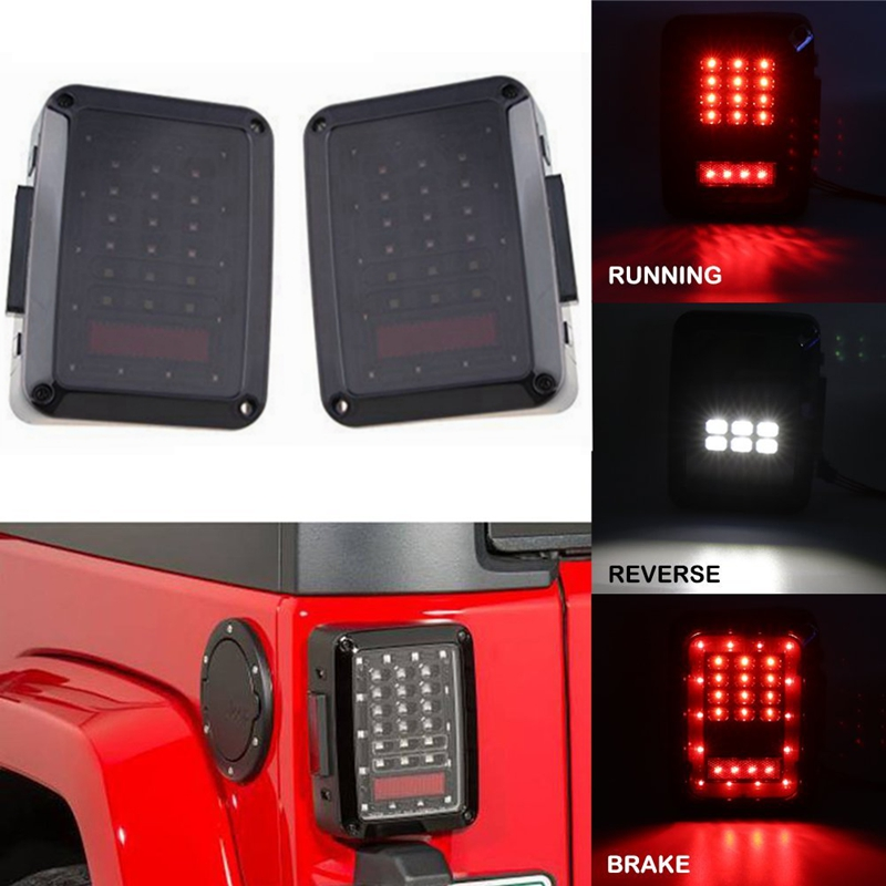 LED Tail Lights for 2007-2015 Jeep Wrangler JK CJ TJ Tail Light Brake Reverse Turn Singal Lamp Back Up Rear Parking Stop Light for jeep wrangler jk 2007 2016 tail light diamond smoke led tail light