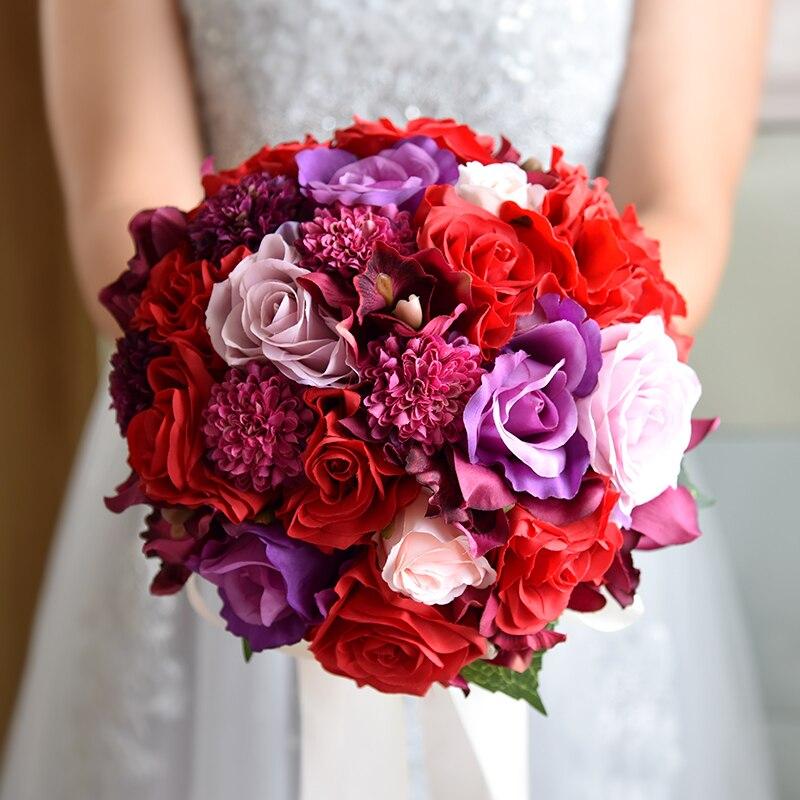 NZUK 2018 Bouquet De Mariage Red Artificial Bridal Bouquet Vintage Wedding Bouquets For Brides Bridesmaid Flower Brooch Bouquet
