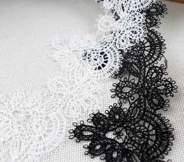 6.5cm רחב חם לבן שחור כותנה רקמת תחרה סרט בד 3D לקצץ צווארון תפירת DIY טאסל תחרת שמלת applique דקור