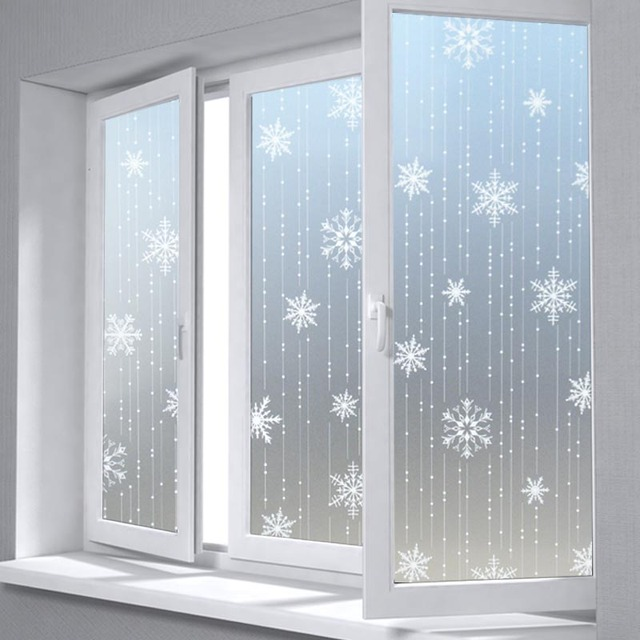 Privacy Decorative Glass Window Film3D Snowflake Frosted Home Decor Sunscreen Static Stickers