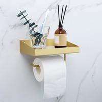 Ins Nordic стены латунь хранения Держатели Стойки Полки для ванной туалетной Бумага вешалка для полотенец с телефона Полка навесная крючки рель