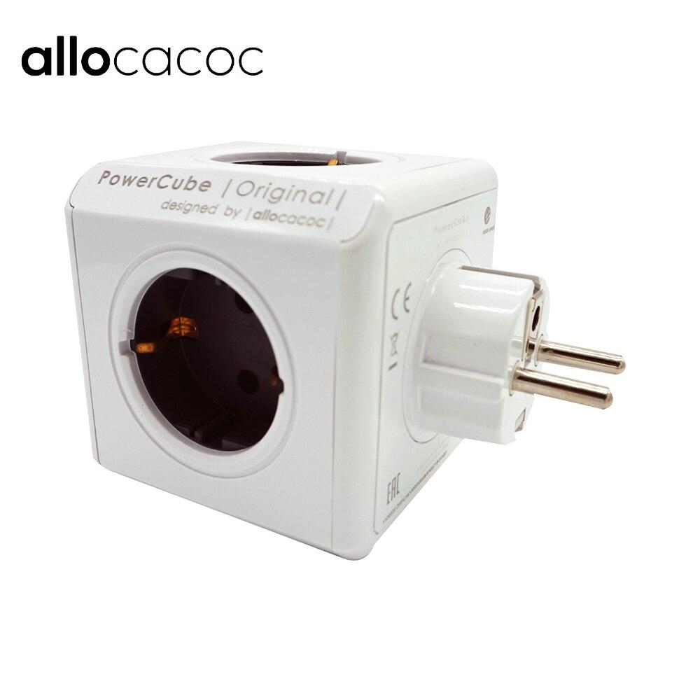 цена на Allocacoc PowerCube Smart Socket DE EU Plug 5 Outlets Adapter Power Strip Extension Adapter Multi Switched Socket 250V 16A