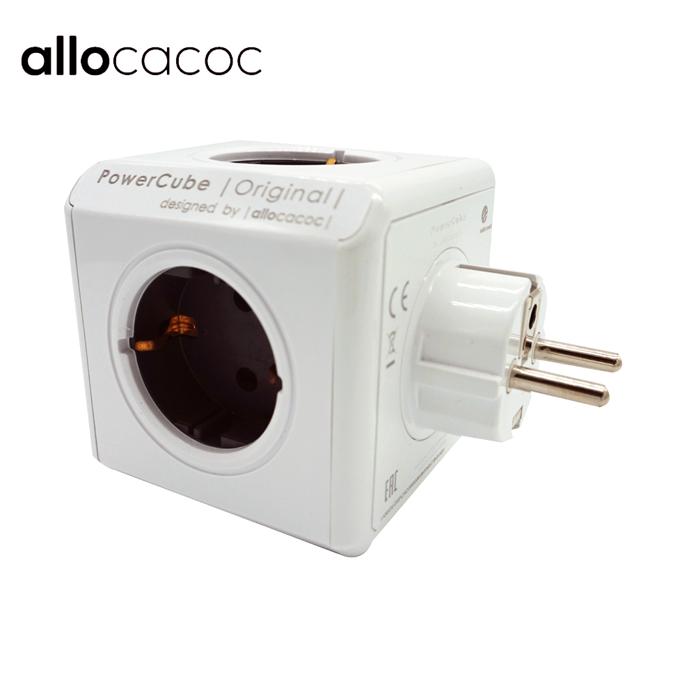 Allocacoc PowerCube Smart Socket DE EU Plug 5 Outlets Adapter Power Strip Extension Adapter Multi Switched Socket 250V 16A