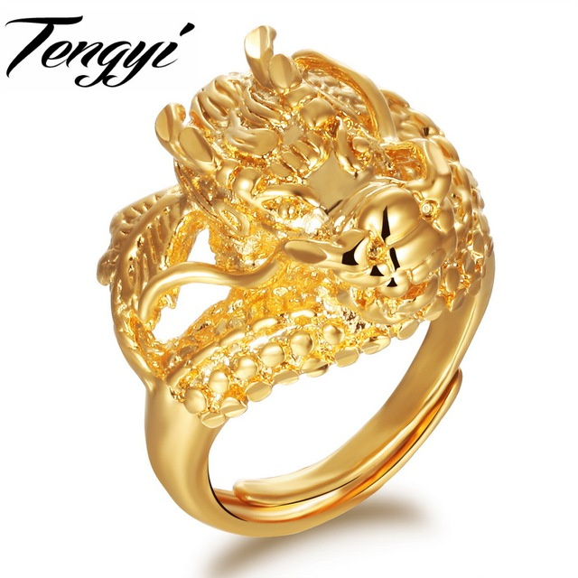 Tengyi New Animal Jewelry Classic Yellow Gold Color Dragon Ring Size