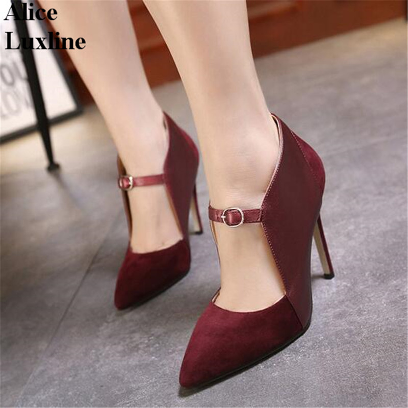 New design 11cm Women Pumps Thin Heels Shes Fashion High-heeled Shoes Buckle Sandals Pointed toe wine Red Black heels USA UK
