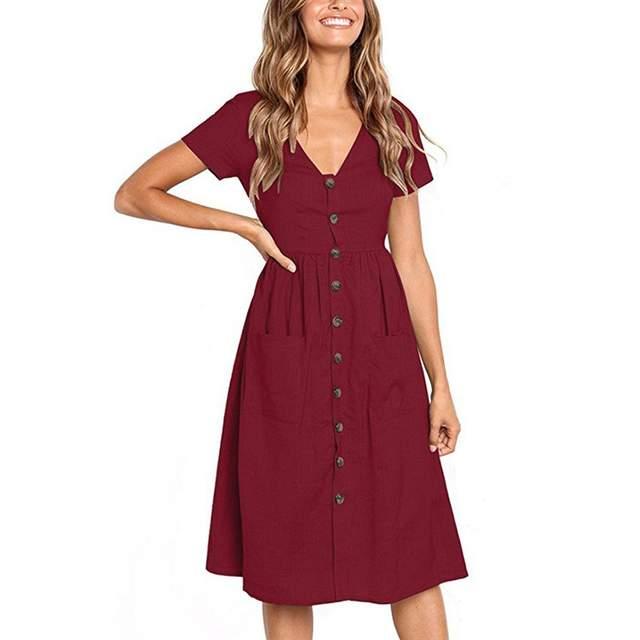 2d009cf8b952 LisVintion Summer Dress Women s Fashion Summer Short Sleeve V Neck Button  Down Swing Midi Dress with