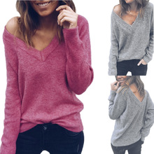 new Europe style sexy v-neck high street woman sweater cute chic long sleeve solid pullover knit female