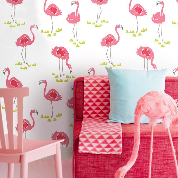 Modern Flamingo Bird Wallpaper Pink Animal Spot Letter Children Wall Paper For Kids Room Girls Bedroom Non Woven Home Decor beibehang non woven wallpaper rolls pink love stripes printed wall paper design for little girls room minimalist home decoration