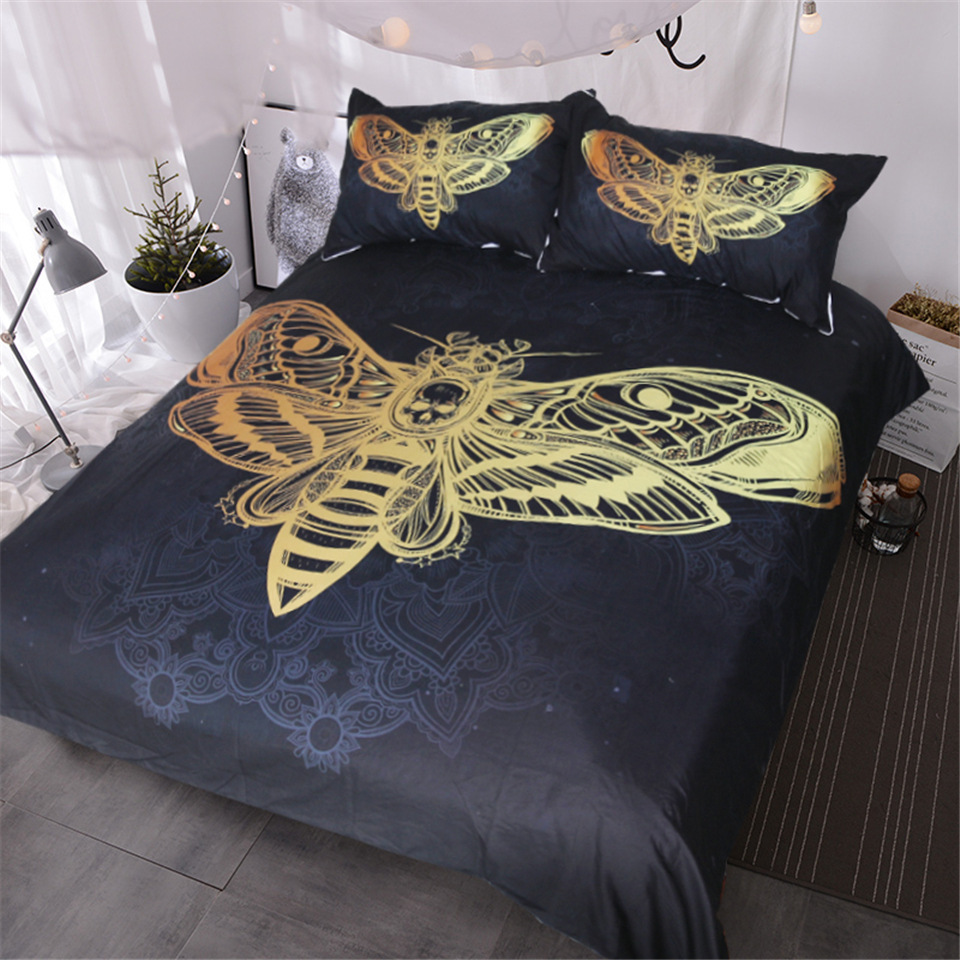 3d Moth Mandala Bedding Set Luxury Queen Size Insect Printed Comforter Bedding Sets 3 Piece Bedclothes Pillowcases Home Textiles in Bedding Sets from Home Garden