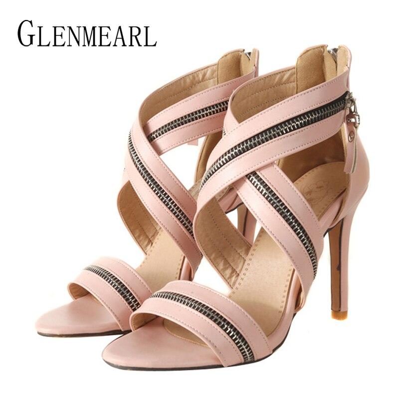 pink Shoes red Femenina Mujeres Cremallera Marca Moda Plus Sandalias Toe Mujer Zapatos Cruz Fiesta Shoes Tamaño Correa Shoes De Peep Las Verano Black qx1wFH1gB