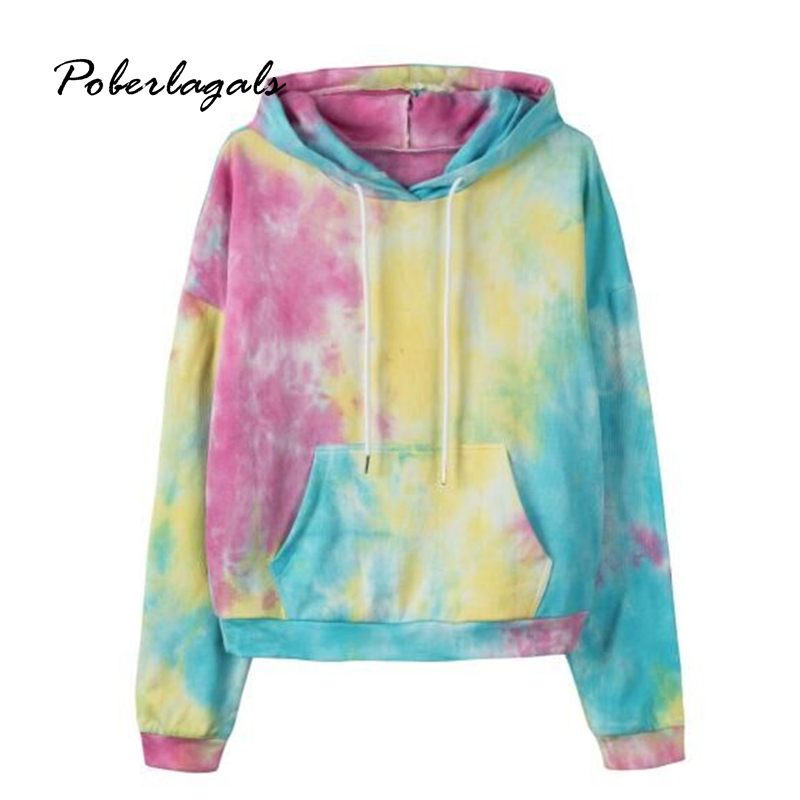 Autumn 2019 Winter Women Casual Tie-dyed Pocket Nostalgic Short Hooded Ladies Sweatshirt Female Harajuku Blusas Womens