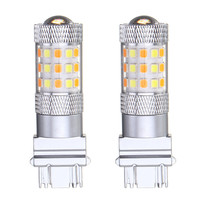2pcs 12V Switchback Light Car Lights 3157 7443 42 SMD 2835 LED Auto Turn Light Bulb Dual Color White Yellow With Resistor