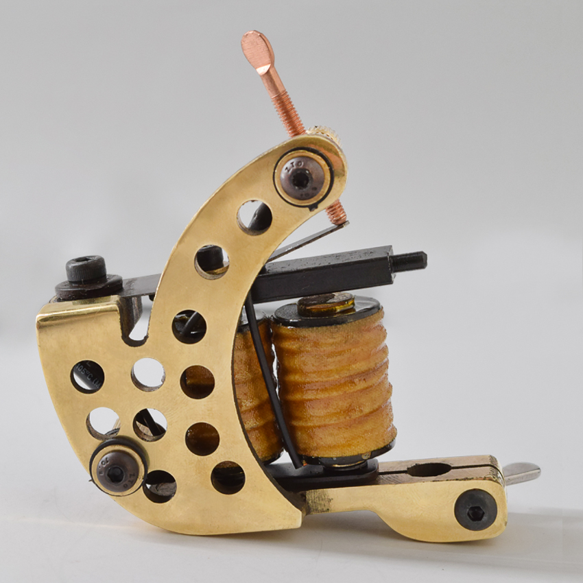 Handmade Cast brass frame 8wraps coils Professional liner Tattoo Machine Gun for Line(China)