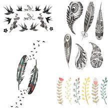 Little Plumage Henna Temporary Tattoo Indians Tribal Women Body Hands Art Tattoo Sticker Black Leaf Tatoo Girl Arm Feather Birds(China)