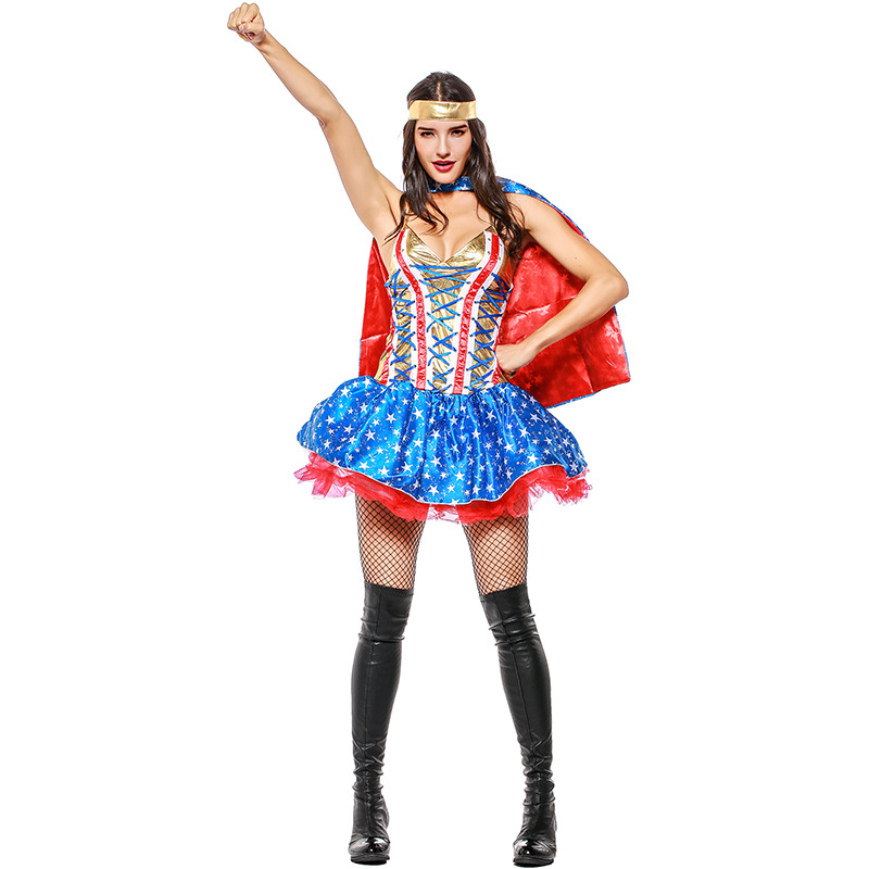 Adult Anime Superhero Wonder Woman Costume with Cloak ...