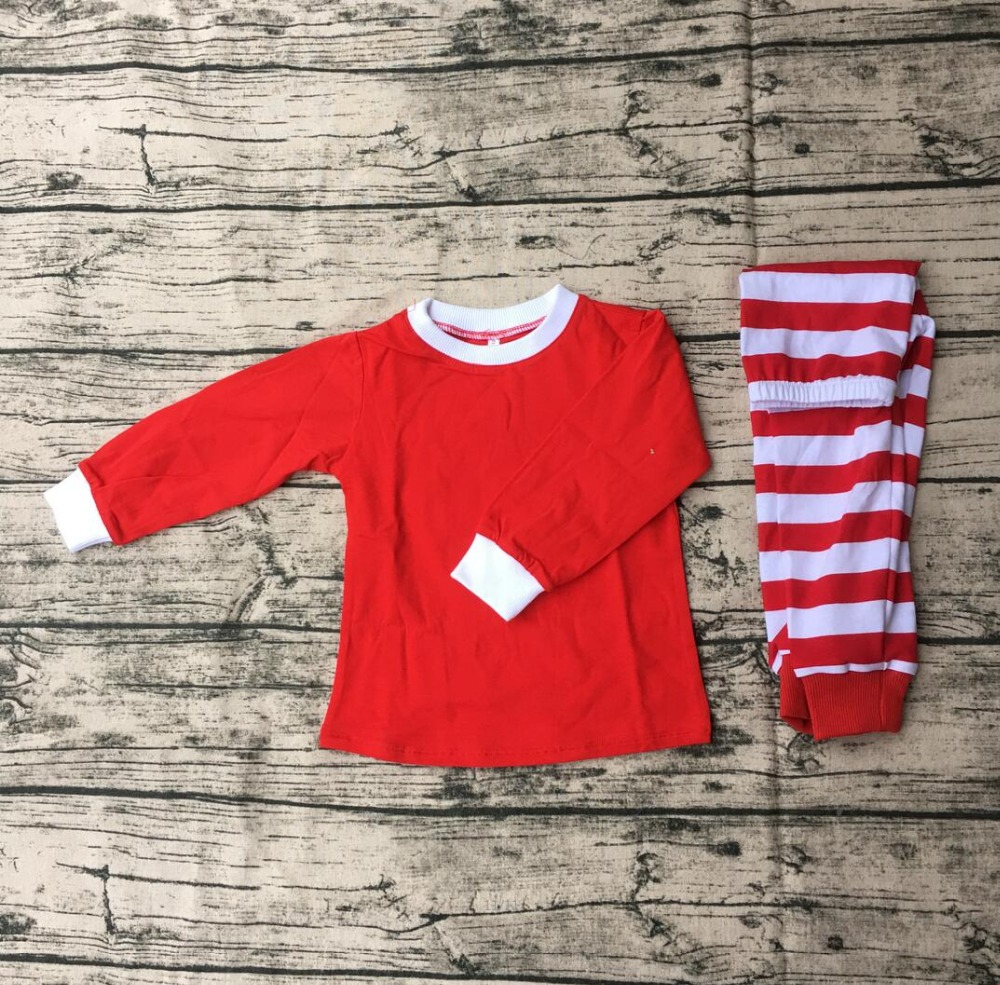 new custom kids red blank white stripe pajamas children christmas pajamas in cheap price