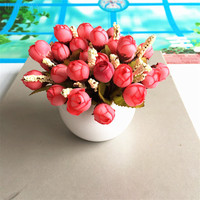 Flower Pot Plastic Silk Bonsai Home Party Wedding Decorative Flowers Tea Rose Bubs