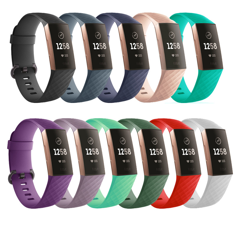 Pure Color Silicone Replacement Smart Watch Accessories Bracelet Strap For Fitbit Charge 3 Band Wristband Belt Fit Bit Band