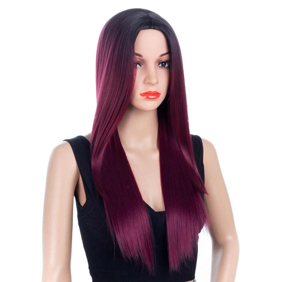 Aigemei 150% Density Straight Synthetic Fiber Heat Resistant 26 Inch No Lace Wigs For Women