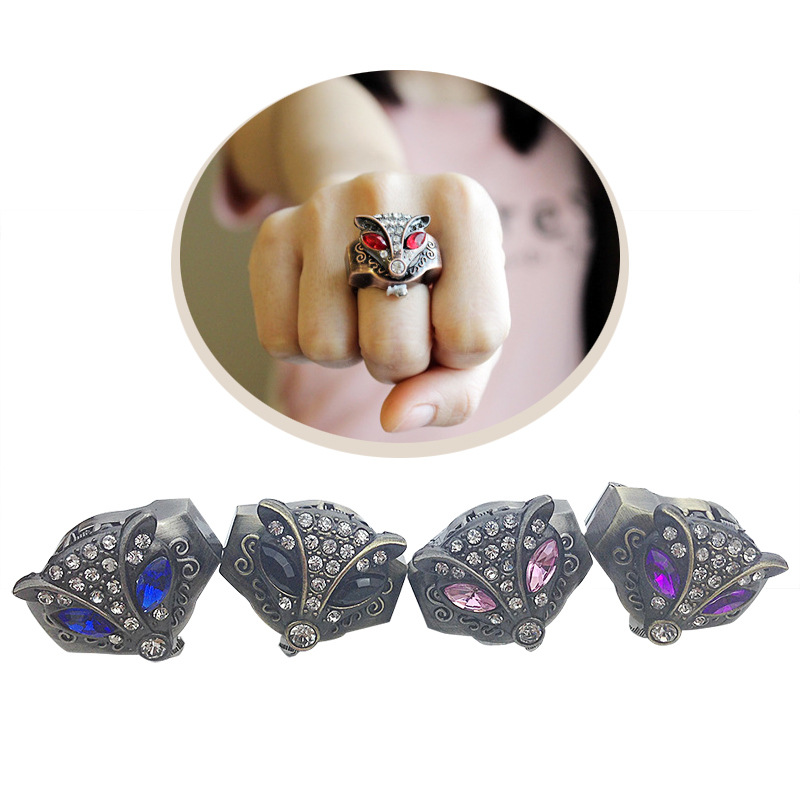 Fashion Fox Rhinestone Watch Finger Ring Watch Women Crystal Alloy Case Watch Jewelry Gifts For Lover Gift LL@17