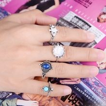 Boho Women Silver Plated Midi Knuckle Rings Set Vintage Open Ring for women with Crystal Turquoise 4Pcs/Set