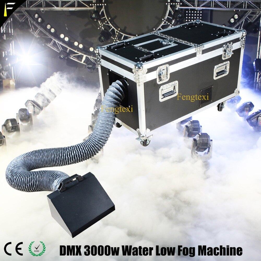 Machine de pulvérisation de brouillard à Base d'eau terrestre 3000 w Machine blanche à faible brouillard d'eau dense avec tuyau d'échappement de fumée et étui de vol