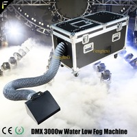 Land Water Base Mist Sprayer Machine 3000w White Heavy Denser Water Low Fog Machine with Smoke Exhaust Pipe and Flight Case Kit