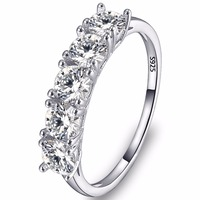 BELLA Fashion 925 Sterling Silver Bridal Ring Clear Cubic Zircon Wedding Ring For Women Accessory Party