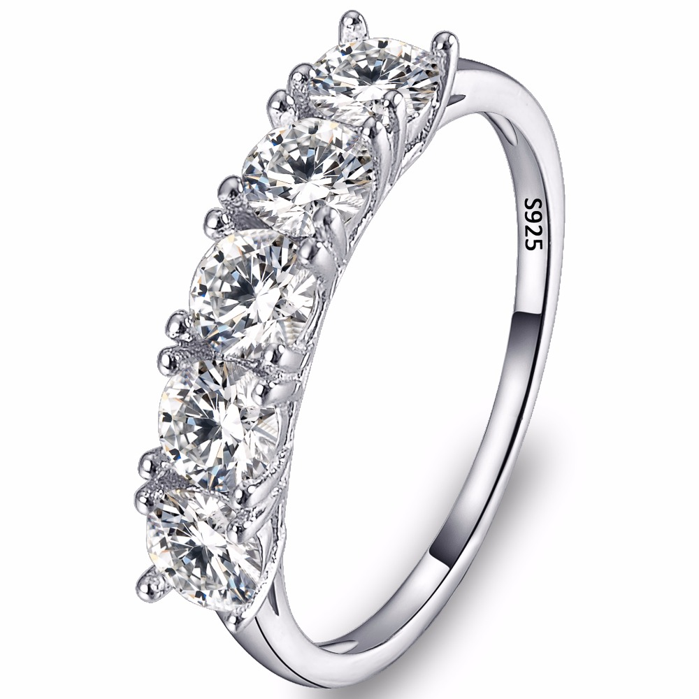 BELLA Fashion 925 Sterling Silver Bridal Ring Clear Cubic Zircon Wedding Ring For Women Accessory Party Jewelry Size 6/7/8/9 equte rssw28c1s7 elegant women s titanium steel zircon ring silver usa size 7