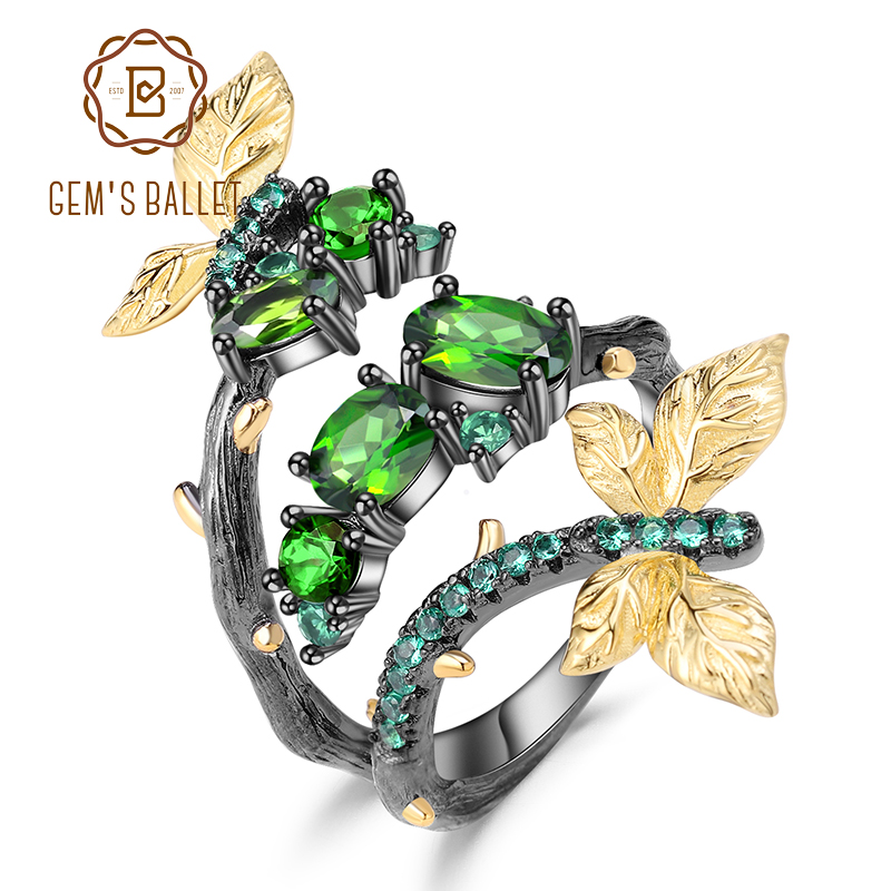 GEM S BALLET 925 Sterling Silver Handmade Ring 1 81Ct Natural Chrome Diopside Butterfly Branch Around