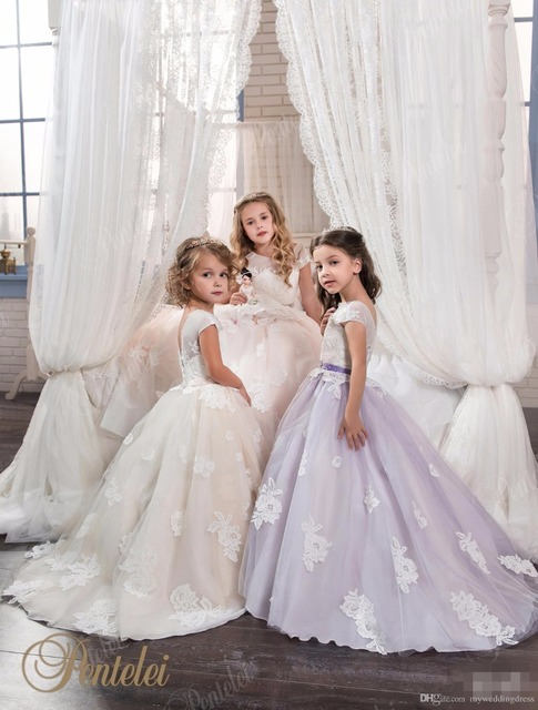 99b710d7c237 Purple Kids Ball Gown Flower Girls Dress 2017 For Weddings Short Sleeve Lace  Appliques Girls Pageant