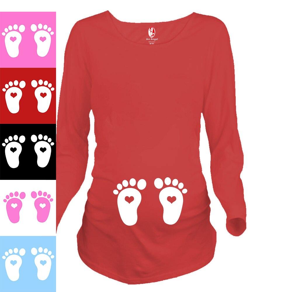 """""""लवली बेबी फीट"""" गर्भवती महिलाओं के लिए प्यारा कपड़े प्रिंट करें यूरोपीय आकार शर्ट 100% कपास मातृत्व लंबी आस्तीन शर्ट"""