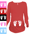 """Lovely Baby Feet"" print cute clothes for pregnant women european size shirt 100% cotton maternity long-sleeve shirt"