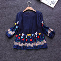 New 2016 spring summer cute fashion a-line women tops floral embroidery appliques loose blouse