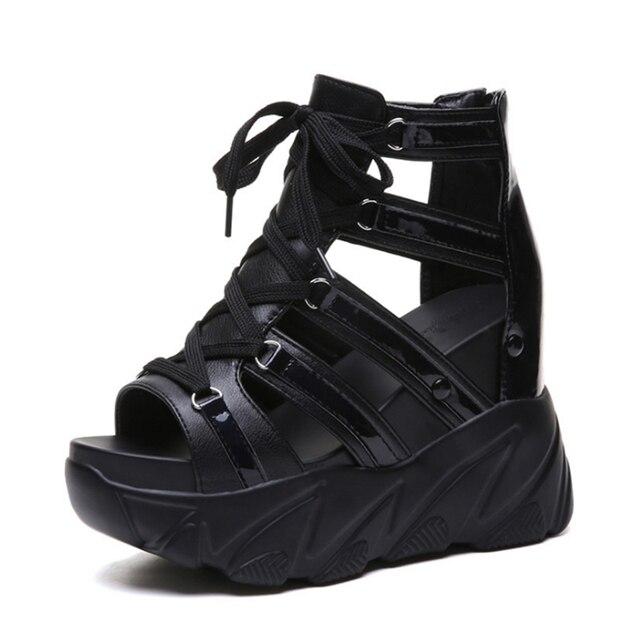 Ho podłoże z Comforty buty damskie spód muffina kliny obcasy letnie buty damskie oddychające sandały kobiety moda sandały na platformie