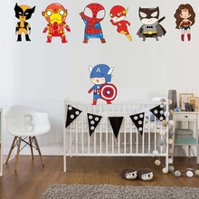1 Piece Cartoon Super Hero Wall Sticker Creative Printed Superman Vinyl Decal for Kids Room Nursery Home Rooms Decor