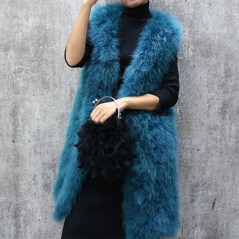 Long Turkey Feather Fur Vest Autumn And Winter Women's Sleeveless Slim Solid Color V-neck Ostrich Feather Waistcoat Female