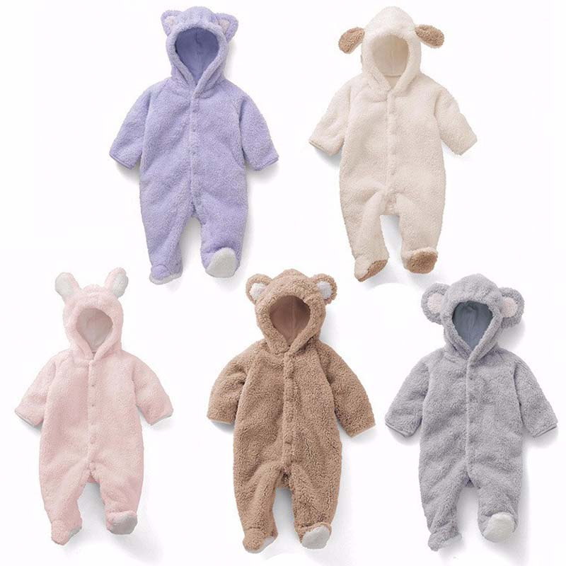 Newborn Baby Boys   Romper   Coral Fleece Winter Warm Infant clothes Long sleeve Animal Overall Footed Baby jumpsuit