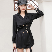Sexy Mini Dress Women Summer Vintage Black Long Sleeve Dresses French Style Turn-down Collar High Waist Shirt Dress With Belt fashion autumn women shirt dress casual irregular short dress belt turn down collar 3 4 sleeve vintage sexy mini shift dresses
