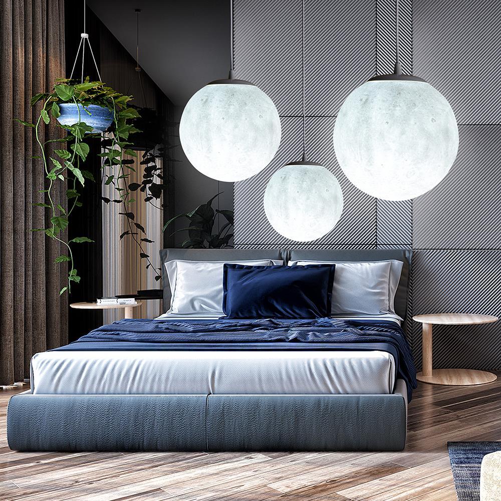 все цены на 3D moon Shape Chandelier Diameter 18CM/20CM Nordic Simple Restaurant Lamp Creative Retro Personality Bedroom Art Pendant Lights онлайн