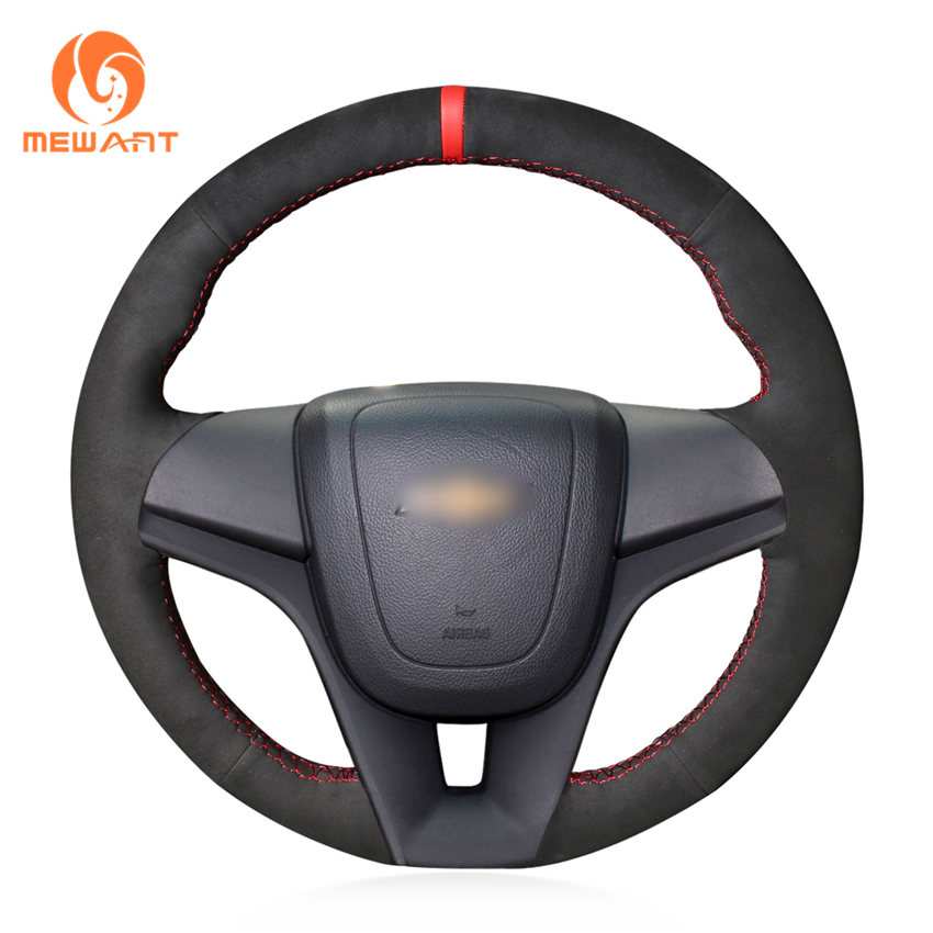 MEWANT Black Suede Genuine Leather Steering Wheel Cover for Chevrolet Cruze 2009-2014 Aveo 2011-2014 Orlando 2010-2015 color my life car steering wheel sequin steering wheel decoration cover sticker for chevrolet trax cruze 2013 2014 2015 2016